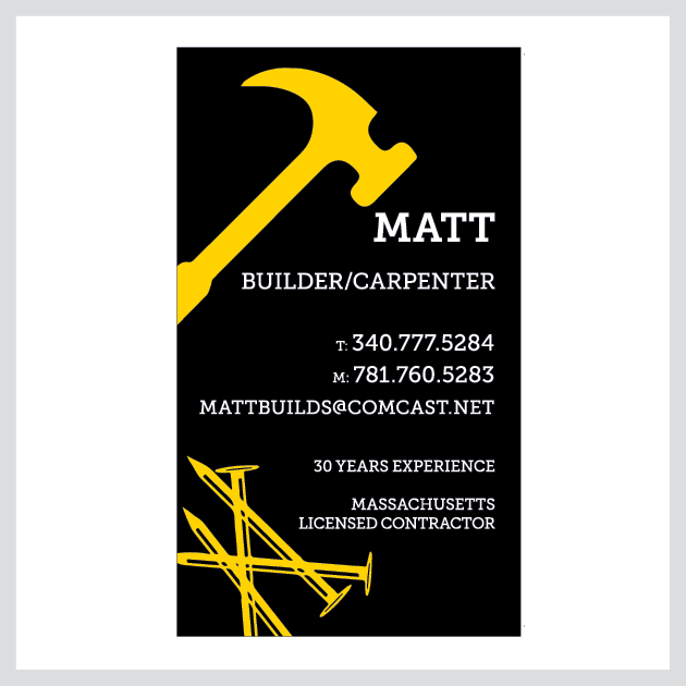 Matt Builder/Carpenter Business Cards