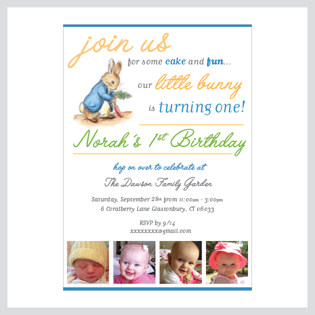 Bunny Birthday Invitation